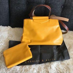 Charles & Keith Large Yellow Handbag W/ Makeup Bag